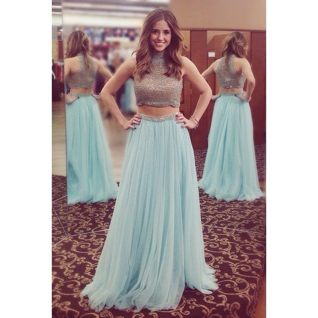 Sexy Light Blue Two Piece Prom Dresses Crop Top High Neck Crystal